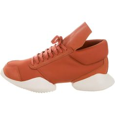 Pre-owned Rick Owens x Adidas RO Runner Sneakers ($750) ❤ liked on Polyvore featuring men's fashion, men's shoes, men's sneakers, orange, mens shoes, mens orange sneakers, mens ties, mens orange tie and mens sneakers