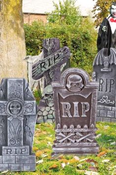 Create a haunted cemetery in your front yard with these spooky tombstones. Your guests will be totally freaked out! See more party ideas and share yours at CatchMyparty.com #catchmyparty #partyideas #halloween #halloweenpartydecorations #outdoorhalloweenpartydecorations #partysupplies #tombstones