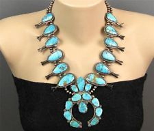 Beautiful Old 1950's Zuni Sterling Natural Turquoise Squash Blossom Necklace 190