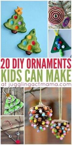 20 DIY Ornaments Kids Can Make is part of Pinecone crafts For Children - Let your children help you decorate this holiday season with 20 beautiful diy ornaments that kids can make We've found cute ornaments for kids of all ages! Holiday Crafts For Kids, Preschool Christmas, Xmas Crafts, Diy Christmas Ornaments, Christmas Projects, Holiday Fun, Christmas Holidays, Christmas Decorations, Diy Ornaments For Kids
