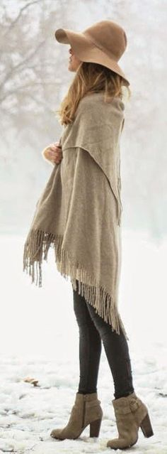 beige scarf + camel hat + grey skinny jeans / #winter #outfits #fashion