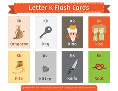 Free printable letter K flash cards. Download them in PDF format at http://flashcardfox.com/download/letter-k-flash-cards/
