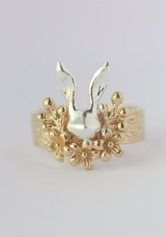 #Sterling #silver rabbit with flower and cherry ring by TedandMag