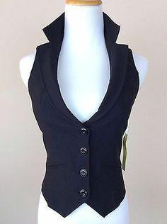 Papaya Womens Juniors Black Sexy Vest M Tuxedo Form Fitting Deep V Neck Stretchy