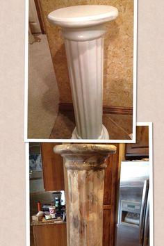 "Cheap Greek column ""marbleized"" with paint to look like a Greek marble pillar  (Garage sale $7)"
