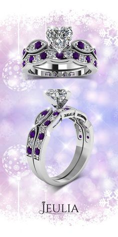 Heart Cut Created White Sapphire with Amethyst Sidestone Rhodium Plated 925 Sterling Silver Women's Ring #Jeulia