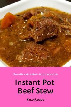 A warm and comforting low carb beef stew! Easy and quick with the Instant Pot!!  #instantpot #instantpotrecipes #instantpotbeefstew #ketoinstantpot #beefstew #ketobeefstew #lowcarbbeefstew #foodhealthnutritionwealth #healthiswealth #foodie #foodporn #delicious #nutritious #nutrition #keto #ketodiet #lowcarbfood #lowcarb #lchf #lchfdiet #ketorecipes #lowcarbrecipes #youtube #youtuber #newvideo Low Carb Keto, Low Carb Recipes, Healthy Recipes, Low Carb Beef Stew, Health And Nutrition, Instant Pot, Meal Planning, Food Porn, Meals
