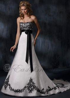 embellished chapel-train lace-up wedding dress,black wedding dress