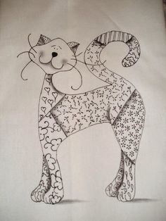 I want to do something similar but in embroidery. I think a zentangle inspired cat will be my first project. Cat Applique, Applique Patterns, Applique Quilts, Quilt Patterns, Crazy Quilting, I Love Cats, Crazy Cats, Adult Coloring, Coloring Pages