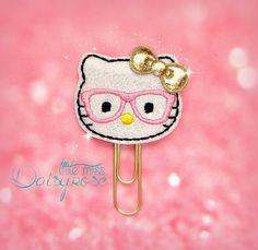 PINK GEEKY KITTY glitter paper clip by LittleMissDaisyrose on Etsy