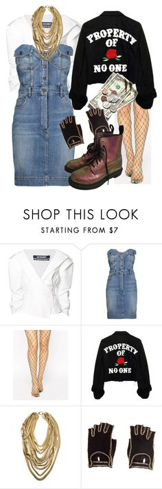 """""""^^^%$))(UY"""" by misstao ❤ liked on Polyvore featuring Jacquemus, Moschino, ASOS, Janis Savitt, Chanel and Dr. Martens"""