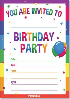 30 Birthday Invitations With Envelopes Pack) - Kids Birthday Party Invitations For Boys Or Girls - Rainbow photo ideas from Amazing Party Invitation Ideas Birthday Party Invitation Wording, Free Birthday Invitation Templates, Birthday Invitations Kids, Invitation Ideas, Birthday Template, Invitation Cards, Unique Invitations, Online Invitations, Photo Invitations