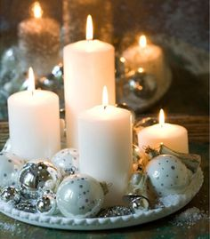 Decorating Ideas | NancyCreative A beautiful centerpiece can be created with ornaments and candles. Just arrange varying heights of pillar candles on a round tray and fill in with a variety of shimmery ornaments. To fill in the smaller spaces, you can even add some glitzy and inexpensive costume jewelry.