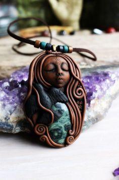 Raven Spirit Animal Necklace with Kambaba Jasper by TRaewyn