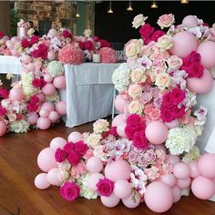 Rg : stunning event styling and design by - - amazing florals by - balloons cake by Balloon Backdrop, Balloon Garland, Balloon Ideas, Pink Parties, Birthday Parties, 50th Birthday, Deco Ballon, Deco Originale, Balloon Flowers