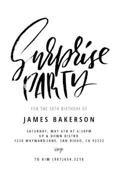 Surprise party invitation post card surprise party invitations surprise party printable invitation template customize add text and photos print download pronofoot35fo Image collections