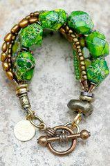 Bracelet | Green | Bronze | Gold | Multi-Strand | Exotic | Statement | XO Gallery