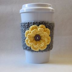 Crochet Flower Coffee Cup Cozy Gray and Yellow - crochet mug cozy Crochet Coffee Cozy, Coffee Cup Cozy, Crochet Cozy, Crochet Gifts, Easy Crochet, Coffee Cups, Winter Coffee, Crochet Stars, Tea Cozy