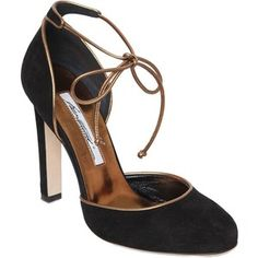 Brian Atwood Women 100mm Libby Suede & Leather Pumps