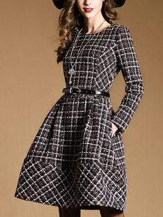 Buy Black Round Neck Long Sleeve Drawstring Pockets Dress from abaday.com, FREE shipping Worldwide - Fashion Clothing, Latest Street Fashion At Abaday.com