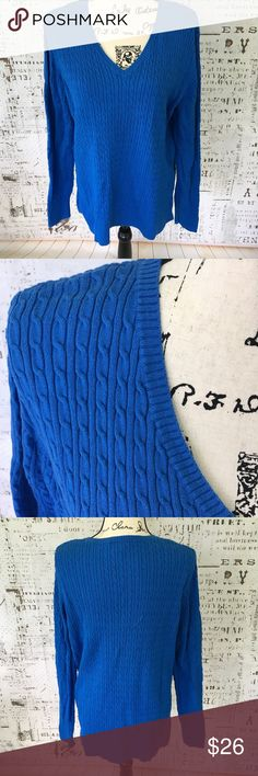 Lands End blue cable knit sweater sz XL 18-20 Lands End blue cable knit sweater sz XL 18-20, v-neck, excellent condition, beautiful bright blue, pit to pit 21 inches, shoulder to hem 27 inches, sleeve length 26 inches. Lands' End Sweaters V-Necks