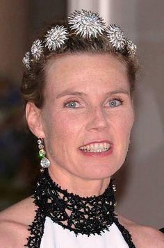Princess Stephanie, Hereditary Princess and wife of Hereditary Prince Bernhard of Baden, wearing the Baden Sunburst Tiara, Germany (diamonds).