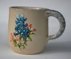 Martinez Pottery, Hand Turned, Marshall Texas Sponge Clay Coffee Cup with bluebonnet decoration