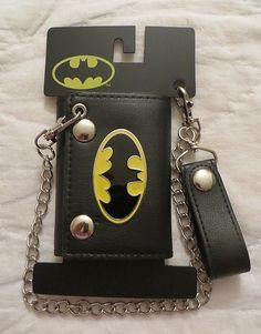 caca2d2b3a2 Dc comics batman logo wallet with chain new licensed tri-fold