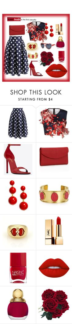"""""""Sem título #352"""" by criscaruccio ❤ liked on Polyvore featuring Chicwish, Clover Canyon, Yves Saint Laurent, Dopp, Kate Spade, Bulgari, Nails Inc., Lime Crime and Christian Dior"""