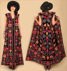 Black VELVET ViNTAgE Embroidered Maxi Dress Afghan Turkish Velvet Bohemian Style Vest by hellhoundvintage