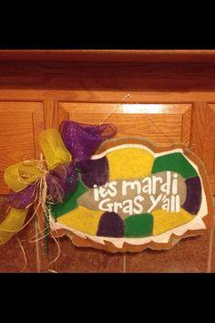 Mardi Gras king cake burlap door hanger by GeauxSouthern on Etsy, $25.00