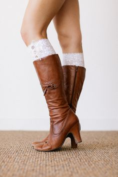 All Lace Boot Cuffs in White with Vintage Buttons by ThreeBirdNest, $28.99