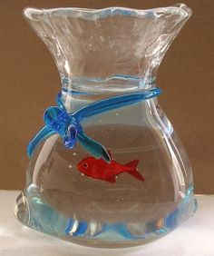 SIGNED Superb MURANO Fish in Bag SCULPTURE Glass PAPERWEIGHT Incredible ILLUSION