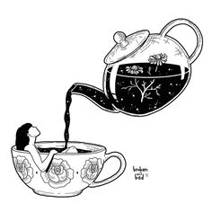 """There is something in the nature of tea that leads us into a world of quiet contemplation of life."" ~ Lin Yutang""There is something in the nature of tea that leads us into a world of quiet contemplation of life. Illustrator Design, Art Sketches, Art Drawings, Sketch 4, Tea Illustration, Illustrations, Art Du Croquis, Buch Design, Design Art"