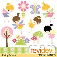 Clipart Spring Fairies 07382 Commercial use clip art by revidevi, $4.95