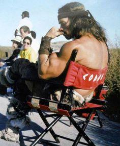 Arnold Schwarzenegger on the set of CONAN the BARBARIAN (1982)