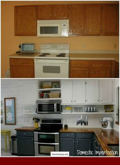 Budget Kitchen Remodel (idea: Move Current Cabinets Up, Add Shelf  Underneath). Cute Cabinet Color For GJaneu0027s Kitchen. Add Pantry Cabinet And  Unify With The ...