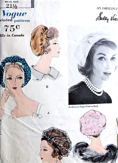 1950s SALLY VICTOR Hat Pattern VOGUE 9755 Gathered Baretta Three Versions Vintage Sewing Pattern