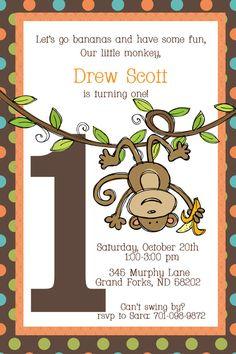 Swinging Monkey First Birthday Invitation