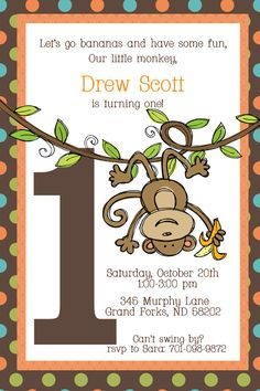 Swinging Monkey First Birthday Invitation