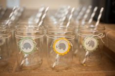 Party Idea: Use mason jars as glasses for a sweet touch to a baby shower. #babyshower #partyidea