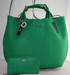 New DKNY Donna Karan Green Saffiano Leather Large Bag Purse Wallet | eBay