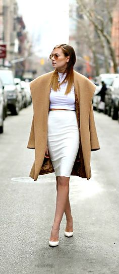 Sexy Fall Look | Camel and White. That touch of drama and loads of elegance and that hint of sexy. Perfection!