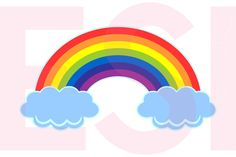Rainbow in the Clouds Design | Design Bundles