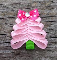 Pink Christmas Tree Ribbon Sculpture Hair Clip - Christmas Hair Clips - Toddler Hair Bows... Free Shipping Promo