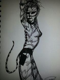 Random cybernetic cat woman dancer