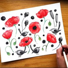 Good morning!! Sharing yesterday's motifs painting, before they became a pattern. Looks very different, doesn't it? 😁 - -  #artbyjessieamo #cbdrawaday  #poppy #flower #flowers #red #poppies #floral #poppyseed #seedpods