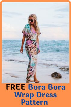 Let yourself loose this summer with a one of a kind Bora Bora wrap dress. This Bohemian Rhapsody wrap dress filled with bold colors is perfect for summer wear especially for long strolls along the beach. Other than the list of items you need to make the dress, the pattern also lists all the measurements you need together with a collection of illustrations to help you get every cut right. #freesewingpatterns#easydresspatterns#dresssewingpatterns#dresspatterns#summerdresspatterns#sewingathome Lining Fabric, Chiffon Fabric, Summer Dress Patterns, Summer Dresses, Stunning Summer, Love Sewing, Bora Bora, Sewing Patterns Free, Summer Wear