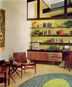 I love these wall-mounted bookshelves because they remind me of so many of the midcentury homes I visited as a child.