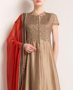 Antique Golden Anarkali Suit